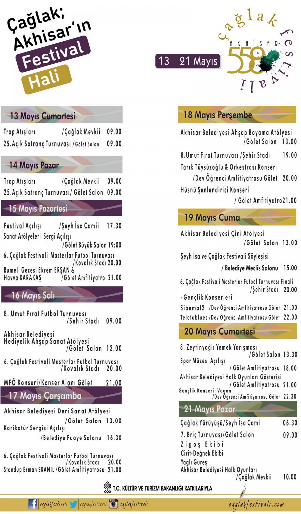 558. Çağlak Festivali 13-21 Mayıs tarihleri arasındaki tüm programlar 1