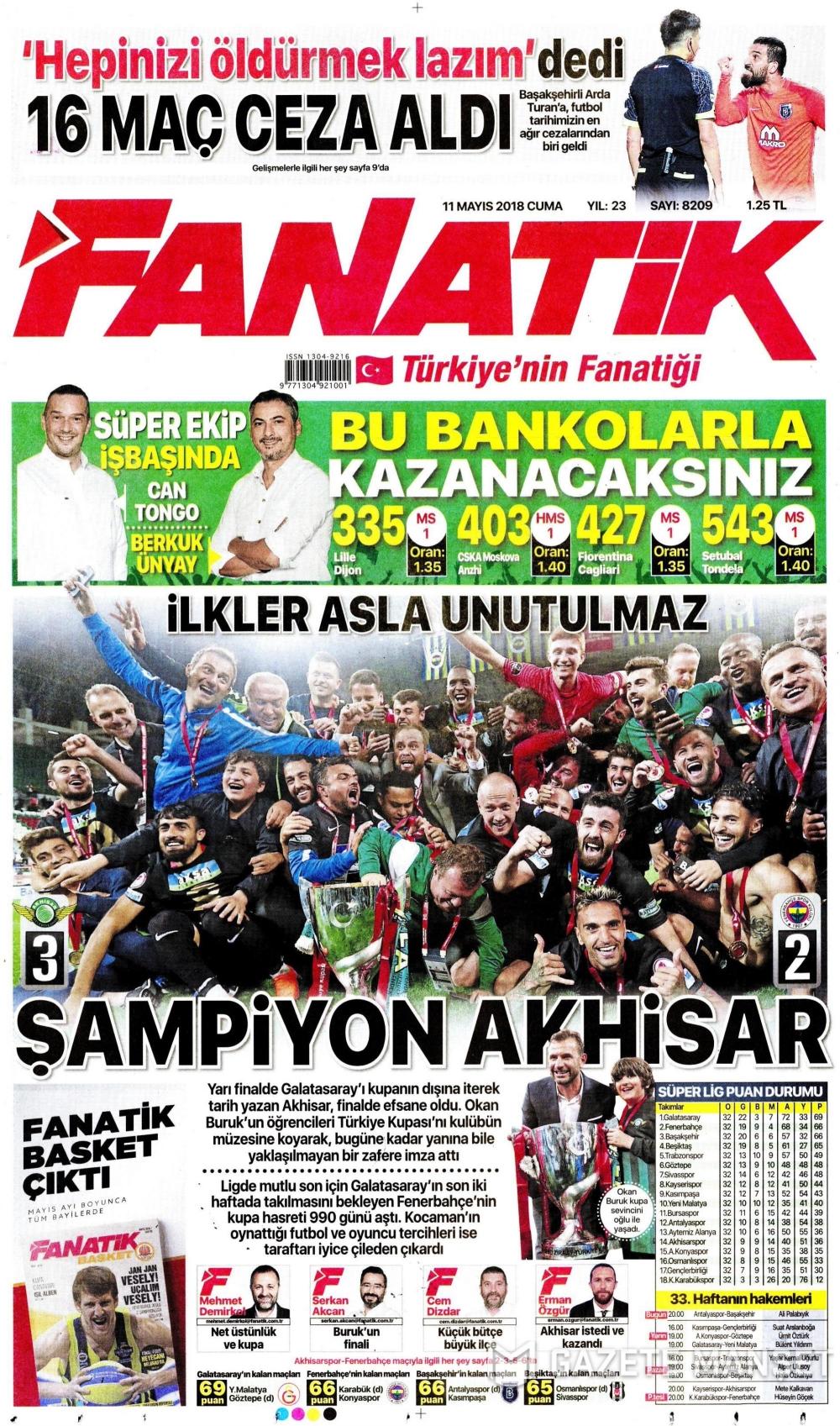 Ziraat Türkiye Kupası Şampiyonu Akhisarspor'un Gazetelerdeki manşet 1