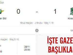 Akhisarspor, Krasnodar maçı sonrası ulusal gazetelerinde yer alan haber