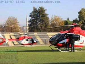 Akhisar'da hava ambulansı pilot değişimi yapıldı