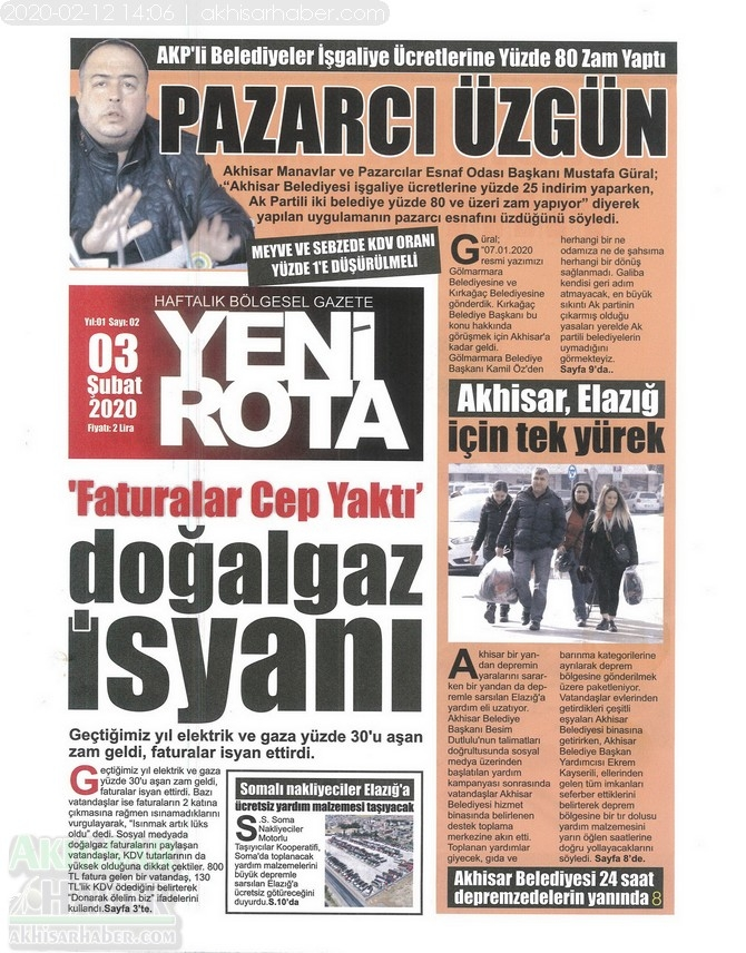Akhisar Yeni Rota Gazetesi 3 Şubat 2020 1