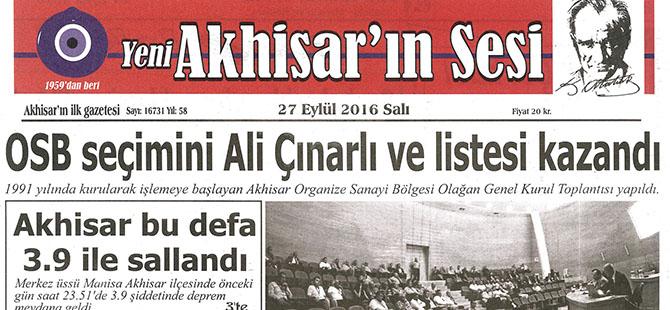 Yeni Akhisarın Sesi Gazetesi 27 Eylül 2016
