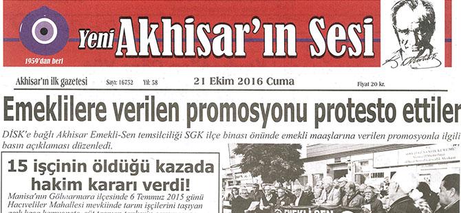 Yeni Akhisarın Sesi Gazetesi 21 Ekim 2016