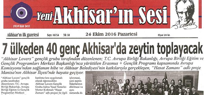 Yeni Akhisarın Sesi Gazetesi 24 Ekim 2016