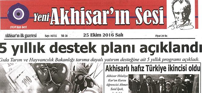 Yeni Akhisarın Sesi Gazetesi 25 Ekim 2016