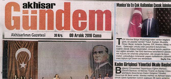 Akhisar Gündem Gazetesi 9 Aralık 2016