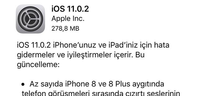 Apple iOS 11.0.2 Güncellemesi Çıktı