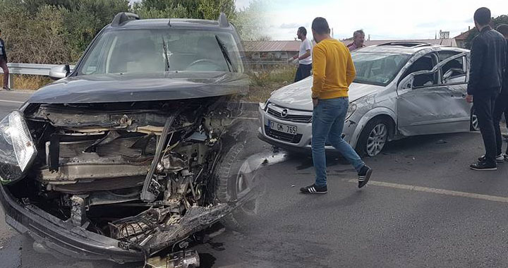 Medar kavşağında feci kaza 1 yaralı!