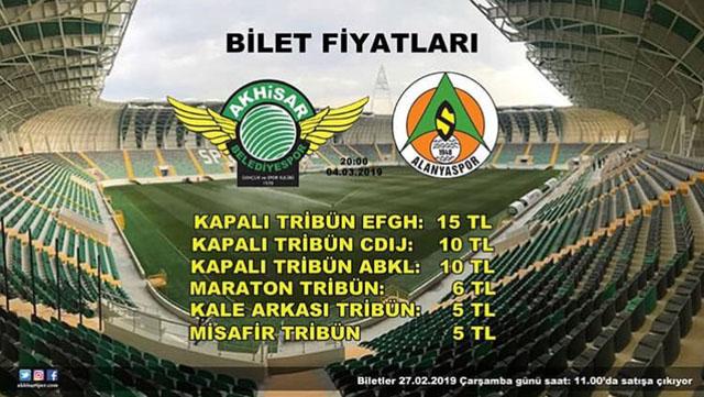 Akhisarspor, Alanyaspor maçı bilet fiyatları açıklandı