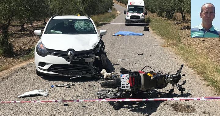 Akhisar'da motosiklet ve otomobil çarpıştı 1 ölü