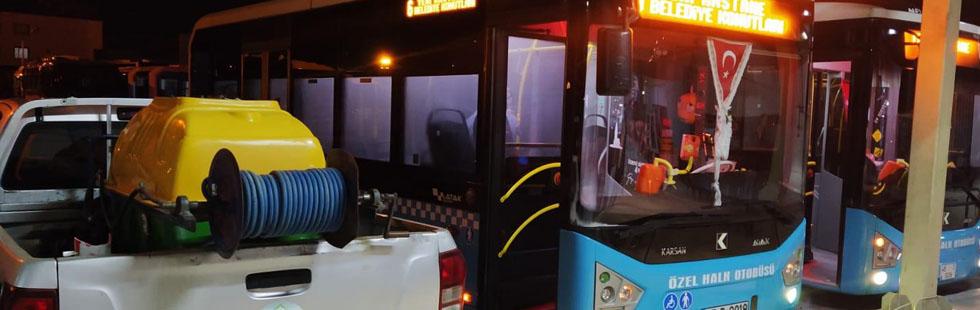 Şehir içi toplu taşıma araçları dezenfekte ediliyor