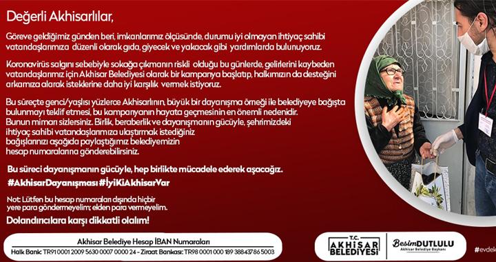 Akhisar Belediyesi yardım kampanyası başlattı