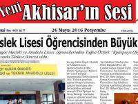 Yeni Akhisar'ın Sesi Gazetesi 26 Mayıs 2016