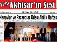 Yeni Akhisar'ın Sesi Gazetesi 31 Mayıs 2016