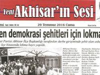 Yeni Akhisarın Sesi Gazetesi 29 Temmuz 2016