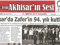 Yeni Akhisarın Sesi Gazetesi 31 Ağustos 2016