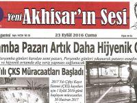 Yeni Akhisar'ın Sesi Gazetesi 23 Eylül 2016