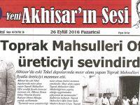 Yeni Akhisarın Sesi Gazetesi 26 Eylül 2016
