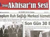 Yeni Akhisarın Sesi Gazetesi 30 Eylül 2016