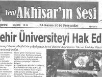 Yeni Akhisarın Sesi Gazetesi 24 Kasım 2016