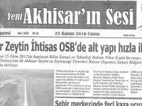 Yeni Akhisarın Sesi Gazetesi 25 Kasım 2016