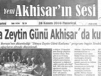 Yeni Akhisarın Sesi Gazetesi 28 Kasım 2016