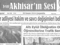 Yeni Akhisarın Sesi Gazetesi 30 Kasım 2016