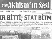 Yeni Akhisarın Sesi Gazetesi 2 Aralık 2016