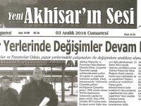 Yeni Akhisarın Sesi Gazetesi 3 Aralık 2016