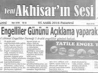 Yeni Akhisarın Sesi Gazetesi 5 Aralık 2016