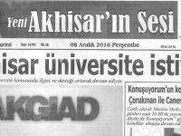Yeni Akhisarın Sesi Gazetesi 8 Aralık 2016