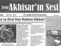 Yeni Akhisarın Sesi Gazetesi 15 Aralık 2016