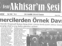 Yeni Akhisarın sesi gazetesi 16 Aralık 2016