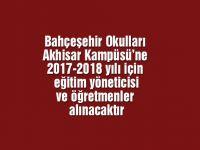 Bahçeşehir Okulları Akhisar Kampüsü'ne 2017-2018 yılı için eğitim yöneticisi ve öğretmenler alınacaktır