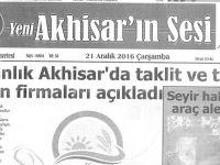 Yeni Akhisarın Sesi Gazetesi 21 Aralık 2016