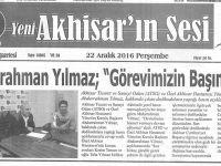 Yeni Akhisarın Sesi Gazetesi 22 Aralık 2016