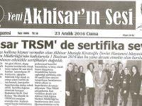 Yeni Akhisarın Sesi Gazetesi 23 Aralık 2016