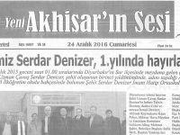 Yeni Akhisarın Sesi Gazetesi 24 Aralık 2016