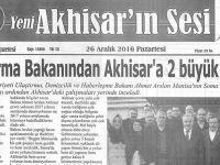 Yeni Akhisarın Sesi Gazetesi 26 Aralık 2016