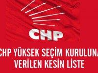 CHP'nin yüksek seçim kuruluna verdiği kesin liste