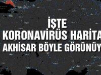Akhisar'daki koronavirüs vakası sayısı haritadan görüldü