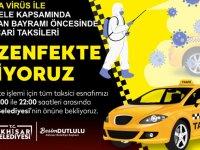 Akhisar Belediyesi, ticari taksileri dezenfekte ediyor